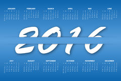 Calendar for the year 2016. Vector illustration Royalty Free Stock Images