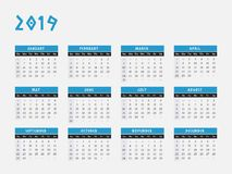 2019 Year Calendar horizontal design. Calendar for year 2019 vector illustration in blue design Stock Photos