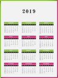 2019 Year Calendar vertical design. Calendar for year 2019 vector illustration color frame design Royalty Free Stock Photography