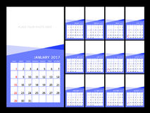 Calendar 2017 year. Vector  illustration Design Template. Set of 12 Months. Week Starts Sunday Royalty Free Stock Images