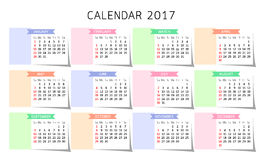 Calendar 2017 year. Stock Image