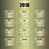 Calendar 2018 year. Vector illustration. Eps 10 Royalty Free Stock Image