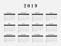 2019 Year Calendar horizontal design. Calendar for year 2019 vector illustration magazine design Royalty Free Stock Images