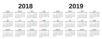 2019 Calendar year. Vector illustration. Template planner. stock illustration