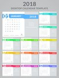 2018 calendar design. Calendar for the Year 2018. Vector template with place for your photo. Set of 12 monthly pages. Week starts on Sunday Royalty Free Stock Photo