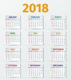 Calendar 2018 year. Vector template. Royalty Free Stock Photos