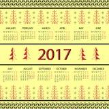 Calendar 2017 year Vintage decorative elements. Stock Photos
