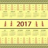 Calendar 2017 year Vintage decorative elements. Stock Images