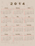 2014 calendar year. In vintage style Royalty Free Stock Photo