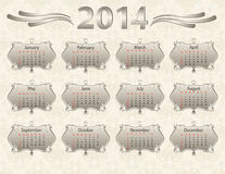 2014 calendar year. In vintage style Royalty Free Stock Images