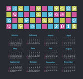 Calendar 2015 year with weather icons. Vector, eps 10 stock illustration