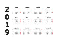 Calendar on 2019 year with week starting from monday, A4 sheet. Calendar on 2019 year with week starting from monday, A4 horizontal sheet Royalty Free Stock Photos