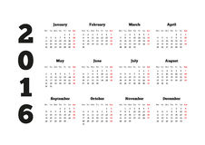 Calendar on 2016 year with week starting from. Monday, A4 sheet size royalty free illustration