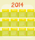 Calendar of year 2014 Royalty Free Stock Photo