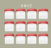 2017 calendar. Calendar of year 2017, week starts on Monday Stock Photography
