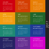 Calendar 2017 year. Calendar for 2017 year. Week starts monday. Vector design template Royalty Free Stock Images