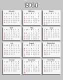 Calendar 2014 Royalty Free Stock Photos