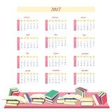 Calendar for 2017 Year.  Week starts from Sunday. Calendar for 2017 Year with books .  Week starts from Sunday. Vector illustration Royalty Free Stock Photography