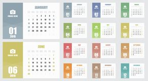 Calendar for 2019 year. Week starts on Sunday. royalty free illustration