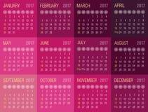 Calendar 2017 year. Week starts from Sunday. Eps 10 Stock Image