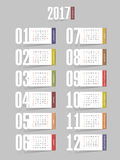 Calendar 2017 year. Week starts from Sunday. Eps 10 Royalty Free Stock Image