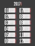 Calendar 2017 year. Week starts from Sunday. Eps 10 Stock Photos