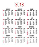 Calendar 2018 year. Week starts Sunday, US. Vector clear or blank calendar template. For office and print Royalty Free Stock Image