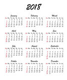 Calendar 2018 year. Week starts Sunday, US. Vector clear or blank calendar template. For office and print. Handdrawn brush font Royalty Free Stock Photo