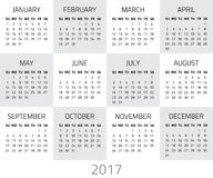 Calendar 2017 year. Week starts sunday. Vector design template stock illustration