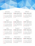 Calendar for 2016 year. Week starts Sunday. Vector design template with polygonal picture stock illustration