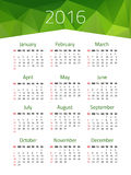 Calendar for 2016 year. Week starts Sunday. Vector design template with polygonal picture royalty free illustration