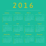 Calendar 2016 year, week starts with sunday Stock Photography