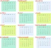 Calendar for 2017 year. Week starts on sunday. Stock Photography