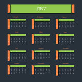 Calendar for 2017 Year.  Week starts from Sunday. Royalty Free Stock Image