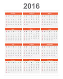2016 Calendar. 2016 year Calendar week starts sundy simple and clear style Vector eps10 Stock Image