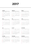 Calendar 2017 for a year on white background. Calendar 2017 for a year start week from Sunday, vector illustration Royalty Free Stock Images