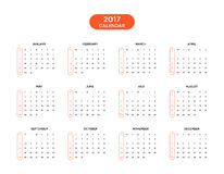 Calendar 2017 for a year on white background. Calendar 2017 for a year start week from Sunday, vector illustration Stock Images