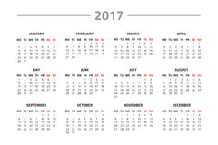 Calendar for 2017 year. On a white background. Week starts monday. Vector design template Royalty Free Stock Photo