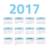 Calendar for 2017 year. On a white background. Week starts monday. Vector design template Royalty Free Stock Image