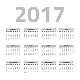 Calendar for 2017 year. On a white background. Week starts monday. Vector design template Stock Photos