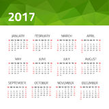 Calendar 2017 year. On a white background. Week starts sunday. Design template Stock Images