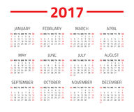 Calendar 2017 year. On a white background. Week starts sunday. Design template Royalty Free Stock Images