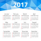 Calendar 2017 year. On a white background. Week starts sunday. Design template Royalty Free Stock Image