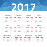 Calendar 2017 year. On a white background. Week starts sunday. Design template Stock Image