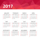 Calendar 2017 year. On a white background. Week starts sunday. Design template Royalty Free Stock Photography