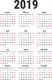 Calendar of 2019 Royalty Free Stock Images
