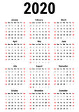 Calendar for 2020 Royalty Free Illustration