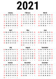 Calendar for 2021 Vector Illustration