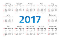 Calendar 2017 year. On a white background. Week starts sunday. Vector design template Royalty Free Stock Photo