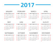 Calendar 2017 year. On a white background. Week starts sunday. Vector design template vector illustration